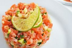 #Receta Explosiva mezcla: Tártara de salmón con manzana verde