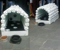 Step by step how to make this PET bottle doghouse Step by step how to make this PET bottle doghouse Pet Beds, Dog Bed, Animals And Pets, Cute Animals, Outdoor Cats, Pet Furniture, Pet Bottle, Love Pet, Animal Crafts
