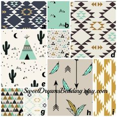 Custom Crib Bedding Teepees  Baby Bedding, Crib Bedding, Mint, Black, Gold, Teepee, Tribal, Native, , Aztec, Baby Boy Nursery by SweetDreamsBedding on Etsy