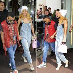 "Rihanna in Silver Spoon Attire beanie, Chanel necklace, Topshop denim overalls, Sophia Webster ""Riri"" shoes, Givenchy handbag."