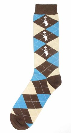 Brown Tan Light-Blue Argyle Mens Dress Sock with White Elephants - Oberon Socks