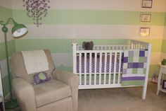 Project Nursery - Green and Purple Girl Nursery Crib and Glider