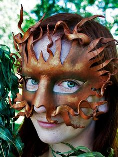 Dryad Mask  Handmade Leather Mask by OakMyth on Etsy,
