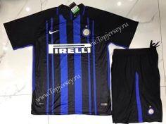 2017-18 Inter Milan Home Black and Bule  Soccer Uniform