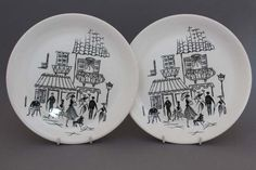 Alfred Meakin 'Paris Scene' Vintage Plates, Vintage China, Vintage Ceramic, Ceramic Art, Retro Vintage, Alfred Meakin, Parisian Cafe, Plate Display, Pottery Plates