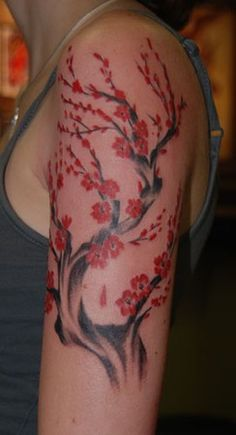 Cherry Blossom Half Sleeve Tattoo   Brooke Cook - water color cherry blossoms
