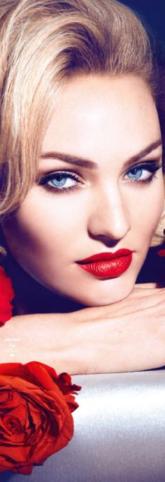 Glamorous Candice Swanepoel's stunning blue eyes are like looking into the deep blue sea....