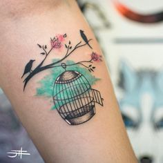 "johndoistattoo: "" Birds and Cage """