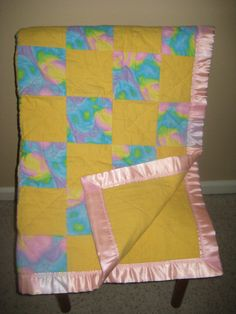 Baby Girl Flannel Quilt Pink Purple & Yellow by DesignsbyJuliAnn, $65.00