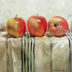 "Daily Paintworks - ""Three Apples"" - Original Fine Art for Sale - © Kathleen Williford Watercolor Fruit, Fruit Painting, Painting Still Life, Still Life Art, Painting & Drawing, Watercolor Paintings, Painting Lessons, Apple Art, Fruit Art"