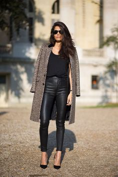 black leather leggings and animal print coat