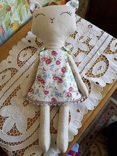 Handmade Cat doll. Stuffed cat toy. Fabric cat doll. Cloth