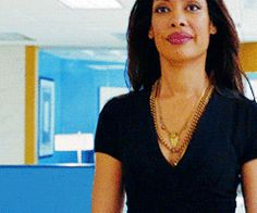 VNeck dress + layered necklaces Gina Torres Jessica Pearson Suits