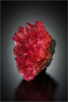 Rhodochrosite on Manganite - N'Chwaning I Mine, Kuruman, Kalahari Manganese Field, Northern Cape Province, South Africa Size: 5.2 x 3.2 x 3.4 cm