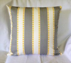 Gray White Stripe Lulu Storm / Corn Yellow Twill Home Decor Throw Pillow Cover Pillow Case Sizes Throw Pillow Cases, Decorative Throw Pillows, Cushion Covers, Pillow Covers, Linen Sofa, Pillow Protectors, Cotton Pillow, Cushions On Sofa, Grey Stripes