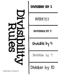Divisibility Rules foldable: It will be handy! Math Teacher, Math Classroom, Teaching Math, Teaching Ideas, Divisibility Rules, Sixth Grade Math, Math Notebooks, Interactive Notebooks, Math Coach