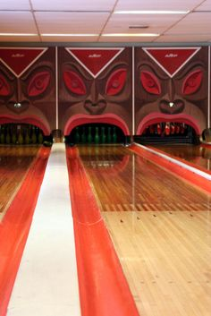 Tiki bowling alley that was once highly used in an apartment complex in Sunrise, FL!
