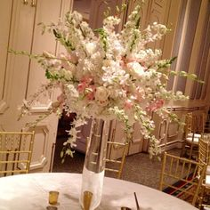 orchids in the wild Orchid Centerpieces, Tall Wedding Centerpieces, Wedding Reception Flowers, White Dendrobium Orchids, Delphinium, Hydrangea, Blush Roses, White Roses, Spray Roses