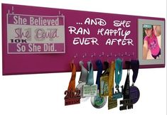 she ran happily ever after - race bibs and medal display rack. for those lucky one! Starting at $24.99