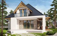 Wizualizacja AC Amira G1 CE Bungalow Renovation, Bungalow House Plans, House Extension Design, House Front Design, House Cladding, Facade House, Modern Bungalow Exterior, Minimal House Design, A Frame House Plans