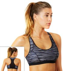 Bally Total Fitness Bra: Ava Mesh Back High-Impact Sport Bra FLB0091A, Women's, Size: Medium, Oxford