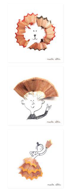 Ilustraciones con los restos del sacapuntas, de Marta Altés