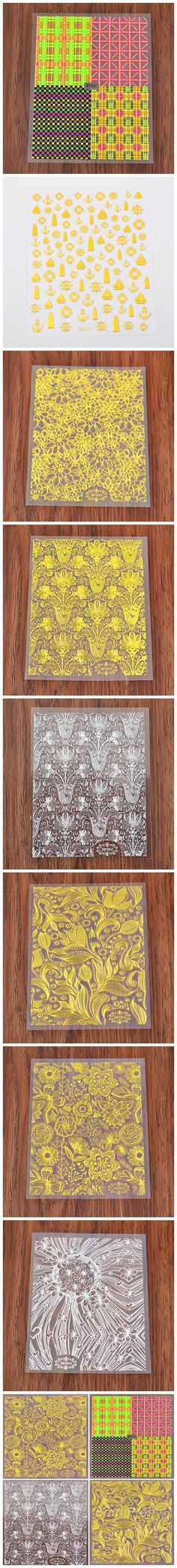 $2.49 1 Sheet Embossed Texture Stickers Gold Silver Flower Grid Pattern 3D Nail Art Stickers Decals - BornPrettyStore.com