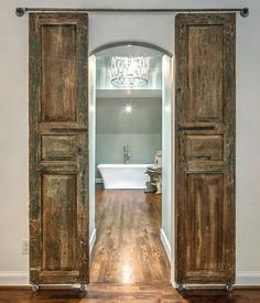 Barn door option for master bath.