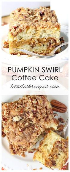Pumpkin Swirl Sour Cream Coffee Cake: Classic coffee cake is infused with a ribbon of sweet pumpkin filling and topped with a cinnamon and pecan streusel. Pumpkin Gooey Butter Cake, Pumpkin Coffee Cakes, Pumpkin Cake Recipes, Pumpkin Bread, Pumpkin Pancakes, Apple Recipes, Fall Recipes, Pumpkin Spice, Baking Recipes