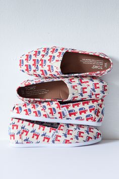 Democrat Donkey or Republican Elephant, theres a TOMS Election Collection slip-on shoe for you!