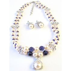 Handcrafted Custom Jewelry Double Stranded Swarovski Ivory Pearls & Purple Velvet Crystals Necklace with Pearls Silver Rondells & Cute Pendant with matc. Crystal Necklace, Necklace Set, Necklace Lengths, Beaded Necklace, Beaded Bracelets, Diy Bracelet, Swarovski Jewelry, Pearl Jewelry, Bridal Jewelry