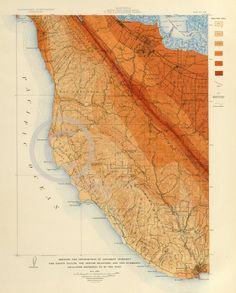 1908 SAN FRANCISCO SANTA CRUZ EARTHQUAKE MAP HISTORICAL VINTAGE