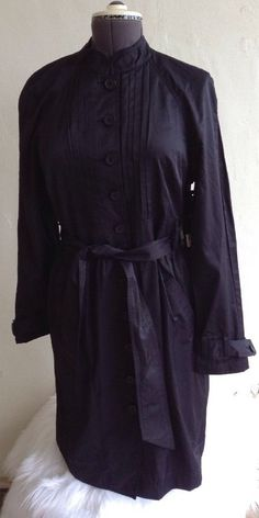 d9e3143568 Daisy Fuentes Large Trench Coat Dress Long Sleeve Button Up Black Belted   78  DaisyFuentes