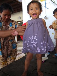 Sreyka Smile clothes donations to the children rural Cambodia