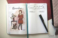 Mademoiselle Novembre a trouvé sa place dans mon bullet journal. Belle façon de démarrer le nouveau mois.