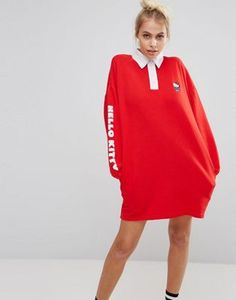 Lazy Oaf X Hello Kitty Rugby Shirt Dress at ASOS. Shop this season's must haves with multiple delivery and return options (Ts&Cs apply). Red Shirt Dress, Cotton Shirt Dress, Collar Dress, Cotton Dresses, Women's Dresses, Dress Red, Rugby Shirts, Lazy Oaf, Hello Kitty Dress