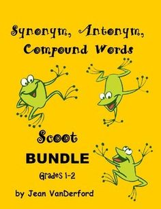 SCOOT! . . . Synonym - Antonym - Compound Words {Core 1-2} BUNDLE  SCOOT! TASK CARDS are chocked full of vocabulary used in first and second grades. There are 28 SCOOT! TASK CARDS in each set. Total of 84 Cads.  Perfect for Scoot! Students choose from four words to find the synonym, antonym or compound word answer.