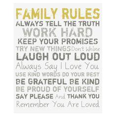 Family Rules Wall Art I