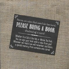 Please Bring a Book Instead of a Card! Insert for Baby Shower Invitations - Library Card with Chalkboard or Rustic Theme, Gender Neutral DIY by WorldOfThought on Etsy https://www.etsy.com/listing/209998521/please-bring-a-book-instead-of-a-card