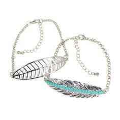 Armband, silber, Blätter, hellblau