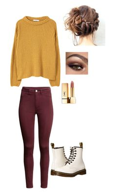 """""""Fall"""" by piperwrite ❤ liked on Polyvore featuring MANGO, Dr. Martens and Yves Saint Laurent"""