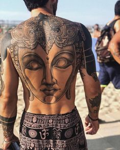 Fun, creative, rebellious, many people love getting tattoos and use them as a platform for self-expression. Tattoos can be satisfying both physically while looking at them and mentally when you con… Buddha Tattoo Design, Buddha Tattoos, Skull Tattoos, Life Tattoos, Body Art Tattoos, Sleeve Tattoos, Arabic Tattoos, Dragon Tattoos, Friend Tattoos