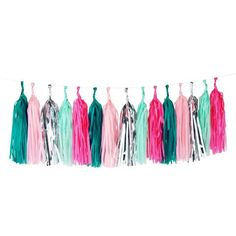 Tissue Paper Tassel Garland - Pink & Mint & Silver party supply and party decorations Diy Tassel Garland, Balloon Tassel, Tassels, Garlands, Flamingo Party Supplies, Mermaid Balloons, Flamingo Color, Diy Girlande, Tissue Paper Tassel