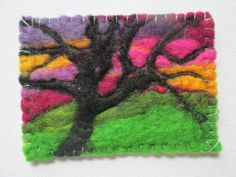 Original aceo tree at sunset felt painting by SueForeyfibreart Felt Pictures, Blanket Stitch, Free Machine Embroidery, Merino Wool, Sunset, The Originals, Cards, Painting, Etsy