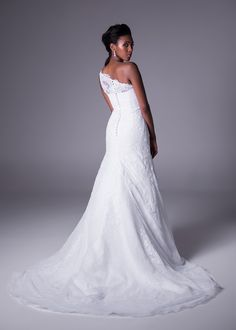 One-shoulder, allover lace wedding gown