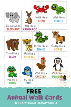 Free animal walk cards for kids of all ages! Perfect for increasing strength, balance, and coordination. Set of 12 cards. - Free Animal Walk Cards - Set of 12 Physical Activities For Kids, Animal Activities For Kids, Gross Motor Activities, Movement Activities, Toddler Learning Activities, Therapy Activities, Animals For Kids, Preschool Activities, Music Activities