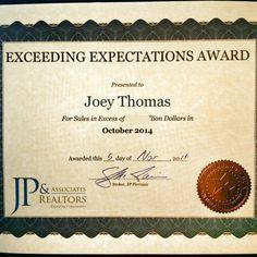 Joey Thomas Realtor Top Producer Award #joeforthewin #realtor #frisco #realestate #hlap #jpar