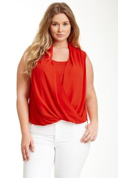 Vince Camuto Wrap Front Shirt Tail Blouse (Plus Size) by Vince Camuto on @nordstrom_rack