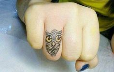 little owl with huge yellow eyes on the ring finger