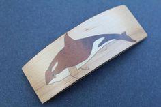 Wale Barrette Hair Clip Luxury French Barrette Wood Rectangle